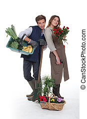 Young florists on white background
