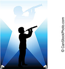 young flute/clarinet player under the bright lights background