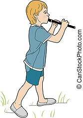 Young flutist - Vector illustration of a young musician, EPS...