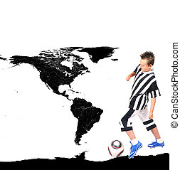 Young footballer with ball and world map on background