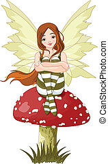 Illustration of forest fairy sitting on mushroom