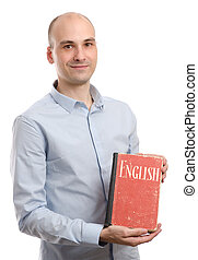 young friendly student with English Dictionary Book