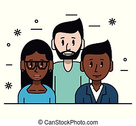 Young friends cartoons icon vector illustration graphic...