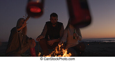 Young Friends Making A Toast With Beer Around Campfire at beach