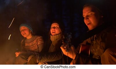 Young friends singing songs to the guitar at the campfire in the night wood
