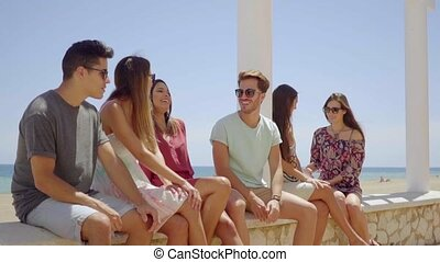 Young friends sitting on stone wall near beach