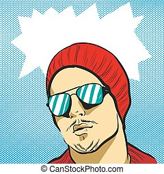 Young funky man in glasses and hat stock vector illustration