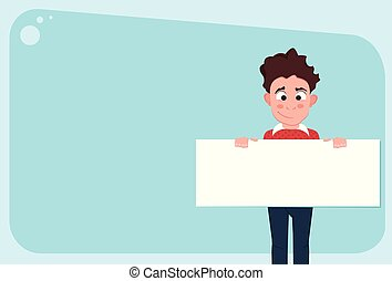 Young funny caucasian man holding a sheet of paper.