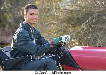 young garden worker