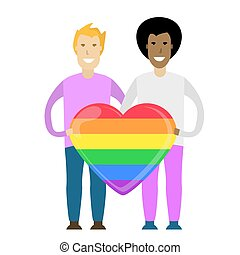 Young gay couple holding a huge rainbow heart. LGBT. Romantic relationships