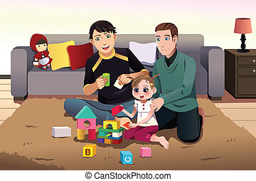 Young gay parents playing with their kid - A vector...