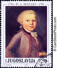 Young genius - Mozart stamp - Young composer Wolfgang...