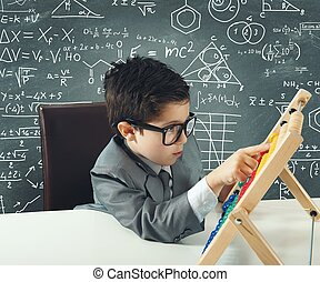 Young genius - Concept of young genius that works with...