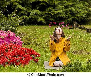 Young Girl and flying petals