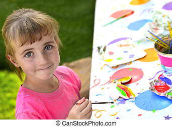 Young Girl Artist Painting