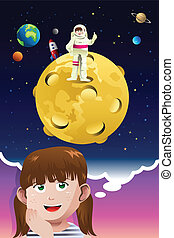 A vector illustration of cute young girl aspiring to be an astronaut going to the moon