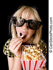 Young Girl at 3-D Movie - Happy Girl Wearing New Style 3-D...