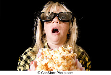 Young Girl at a Scary 3-D Movie - Terrified Girl Wearing New...