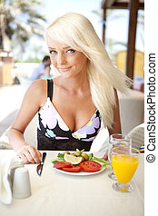young girl at breakfast