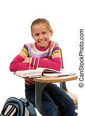 Young Girl at desk in school on white