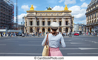 Young girl at the opera in Paris,
