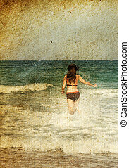 young girl at the sea. Photo in old color image style