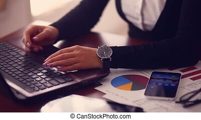 young girl big hands businessman running distant work on the tablet on the table freelance graphic documents female freelance