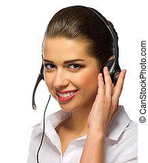 Young girl call center operator