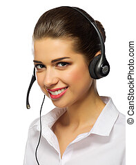 Young girl call center worker