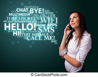Young girl calling by phone with word cloud - Pretty young ...
