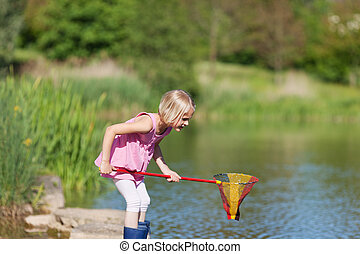 Young girl catching fish at the lake standing in her ...