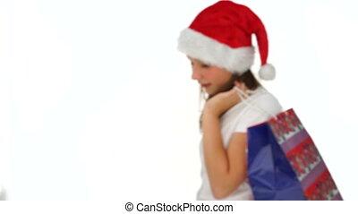 Young girl celebrating Christmas