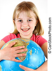 Young girl clutching a globe