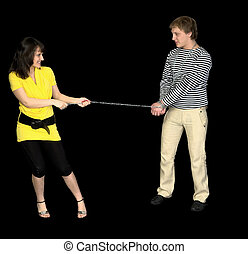 Young girl conducts on a chain of the guy