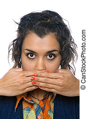 Young Girl Covering Her Mouth With Both Hands