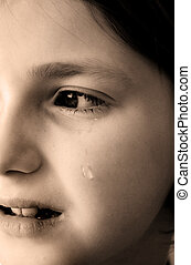Young Girl Crying with Tears