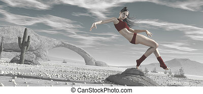 Young girl dancing in a wilderness desert landscape. This is a 3d render illustration