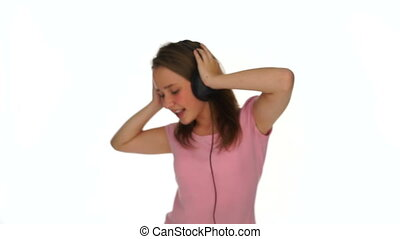Young girl dancing or jiving