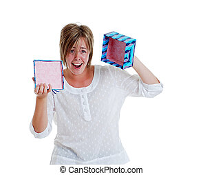 Young girl disappointed empty box