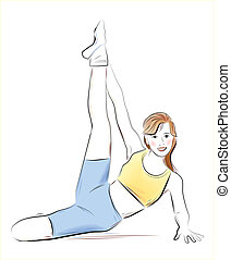 young girl doing fitness exercise