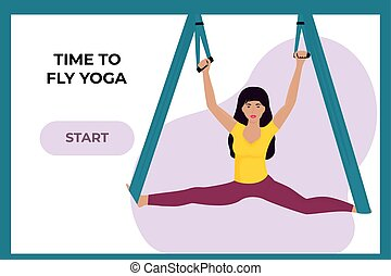 Young girl doing fly yoga in a hammock. Woman doing the splits. Landing page template.