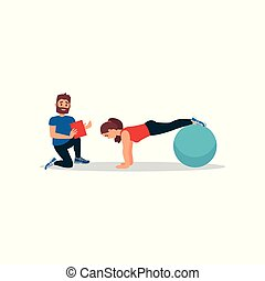 Young girl doing plank exercise using fitness ball. Woman training in gym under control of personal trainer. Flat vector design