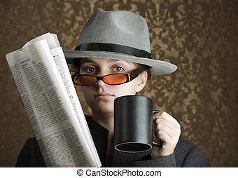 Young girl dressed in spy gear - Young girl wearing a fedora...