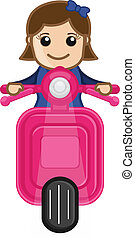 Young Girl Driving Scooter Vector