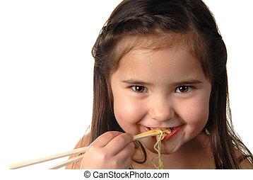 Young girl eating noodle soup - Pretty young girl enjoying ...