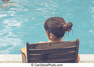 Young girl enjoy beautiful sunny day on vacation