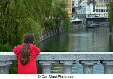Young Girl Enjoying the Canal