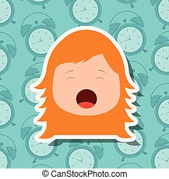 young girl face yawning clocks background
