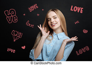 Young girl falling in love and feeling happy