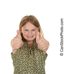 young girl gives two thumbs up on white background